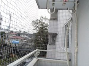 ベランダ防鳥ネット設置1